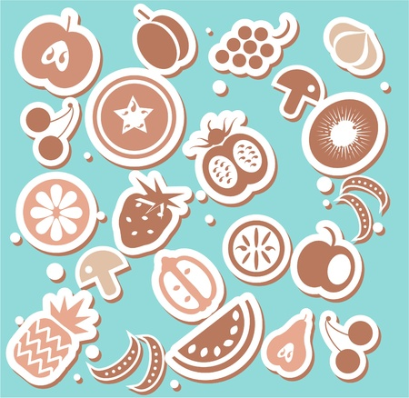 Various Fruits and Vegetables sticker or background Vector