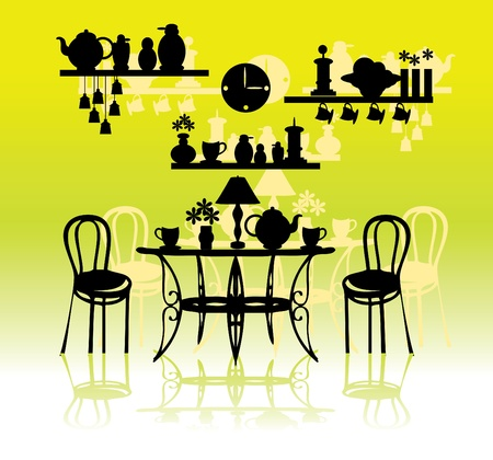 apartment suite: Vintage style kitchen with utensils silhouette vector  Illustration