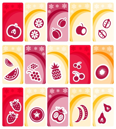 Fruit and vegetables icons on floral banners background collection Vector