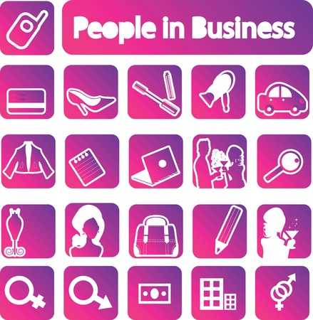 People in business icons collection. emblems set Vector