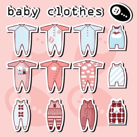 Baby Onesie template in pink and blue Illustration