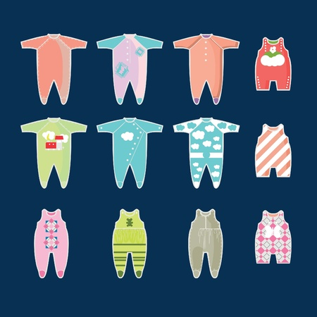 puerile: babies clothes kids icons collection, pattern Illustration