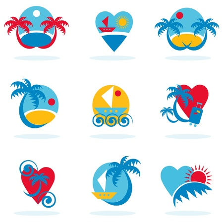 world village: travel icons collection - vacation emblems and symbols