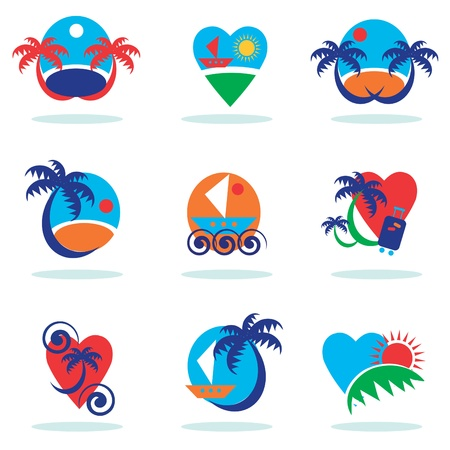 travel icons collection - vacation emblems and symbols