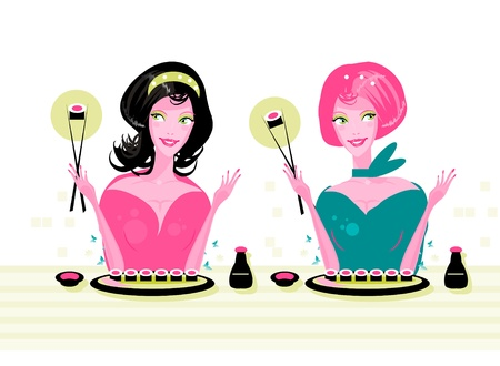 susi: 2 girls at party with susi in hands. healthy food Illustration