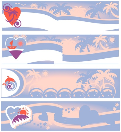 summer beach collection of travel banners Stock Vector - 9935655