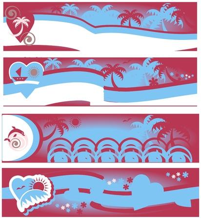 collezione spiaggia estate di viaggi banner  Vettoriali