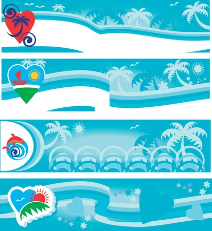 summer beach collection of travel banners