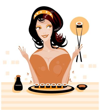 woman eat: Mujer comer susi-comida ex?tica en Sushi bar