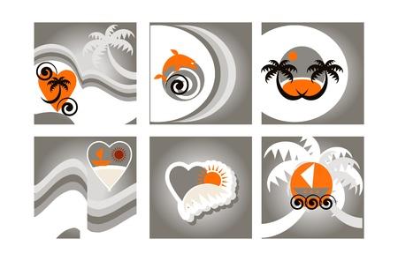 Set di sei sfondo colorato Tropical, le schede con emblemi spiaggia Vettoriali