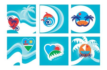 Set di sei sfondo colorato blu chiaro tropicale, le schede con emblemi spiaggia