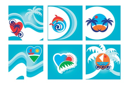Set of six colorful lBlue Tropical Background, cards with beach emblems