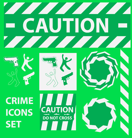 tape marker: Silhouette icons set Caution, danger, and police crime concept design elements