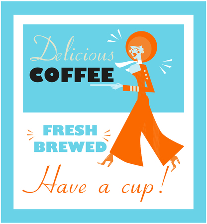 forties: Vintage Food & Drink Poster Print Coffee Vintage sign - Fresh Brewed Coffee clean sign