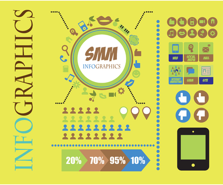 smm: SMM Social Marketing infographics with data icons and elements