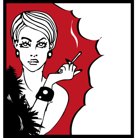 smoking girl: portrait of smoking girl pop art style tattoo ink illustration
