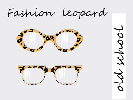 Fashion collection of oldschool glasses with leopard texture pattern Stock Photo