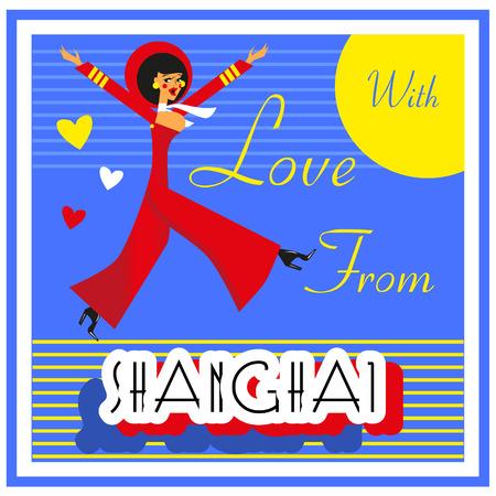 shanghai china: Vintage Touristic Greeting Card - China , Shanghai Vector sign poster emblem Stock Photo
