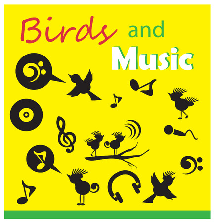cormorant: birds and music silhouette icons sets