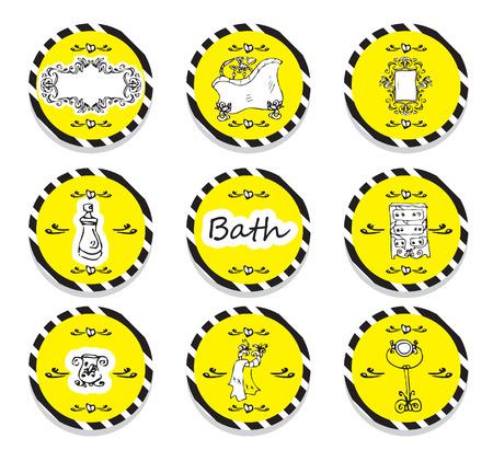 flower bath: vector set vintage labels - doodley originals bath spa cosmetic beauty