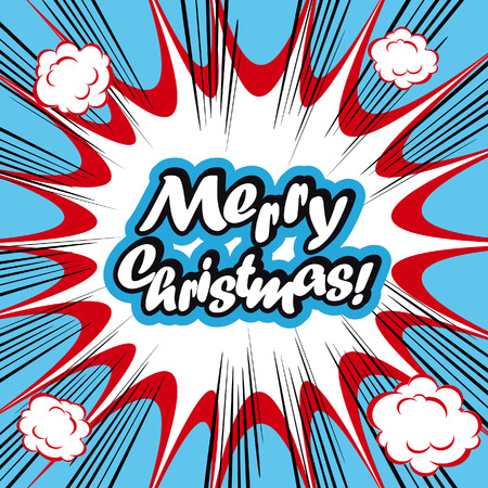 poster art: Comic book background Merry Christmas Card