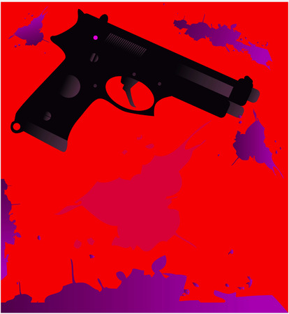 blood splatter: Gun silhouette with blood splatter on a white background Crime concept template with space