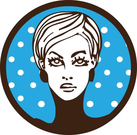 lable: pop art womam lable emblem sticker