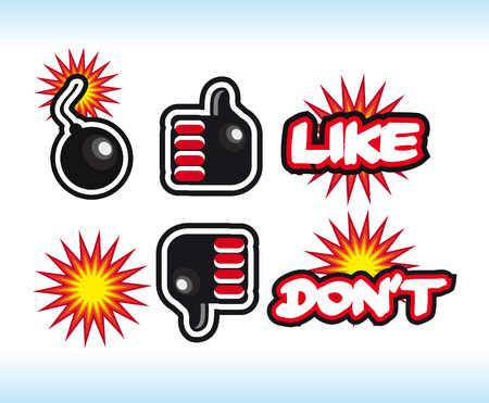 no nuclear: comic style bombs Like and unlike symbols. Thumb up and thumb down signs.