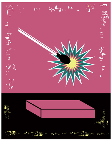 danger box: Danger Pink and Black Lit Match Poster with box and text place