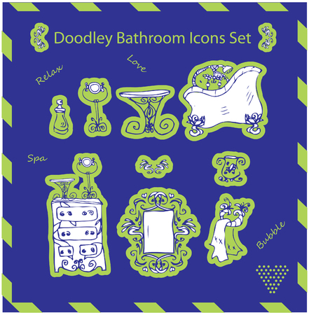 mirrow: bathroom icons set doodley stickers template