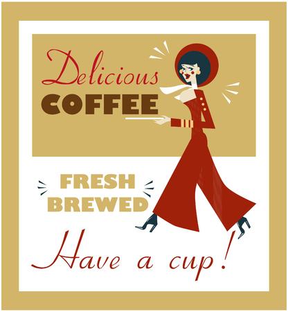 fresh brewed: Vintage Food & Drink Poster Print Coffee Vintage sign - Fresh Brewed Coffee clean sign