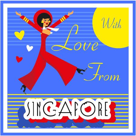 touristic: Vintage Touristic Greeting Card - Singapore  Vector sign poster emblem