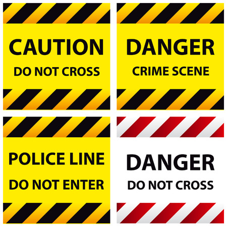 one lane sign: illustration of police security tapes, yellow with black and red, vector illustration, cards