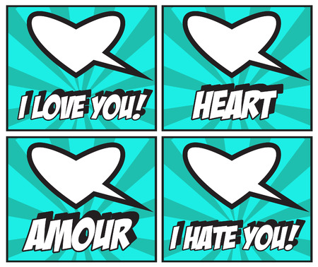 amore: Valentines Day Stickers and speech bubbles I love You! Amore! Heart! I hate You! Stock Photo