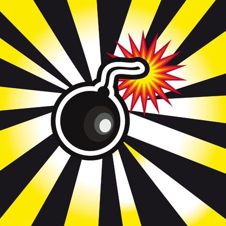 danger Bomb explosion in yellow and black background Stock Photo
