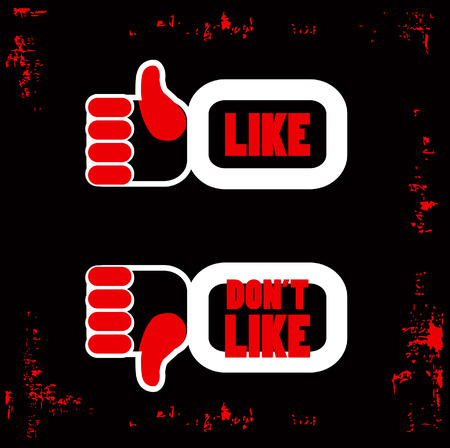 unlike: Red and Black Like and unlike icons poster. Thumb up and thumb down signs for blogs and websites
