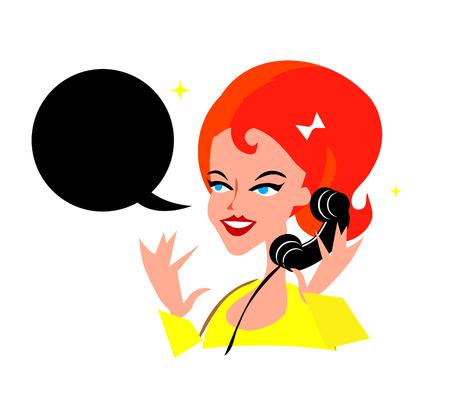 talker: Cute Girl On The Phone Retro Pop Art Background Illustration Stock Photo