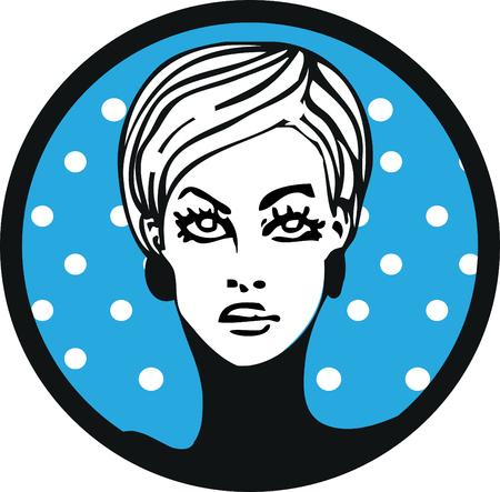 ben day dot: pop art womam lable emblem sticker