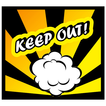 keep out: Comic book background Keep out! sign Card Pop Art office stamp with the word Keep out Stock Photo