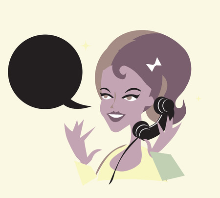 answering: Cute Girl On The Phone Retro Pop Art Background Illustration Stock Photo