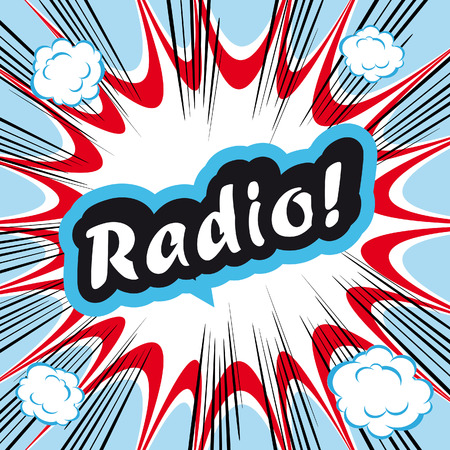 book background: Comic book background Radio! sign Card Pop Art office stamp with the word Radio