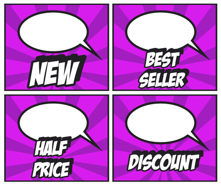 half price: NEW BEST SELLER HALF PRICE DISCOUNS lables -illustration of colorful cartoon labeling