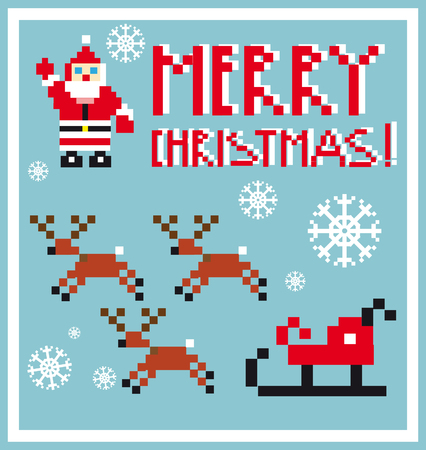 sprightly: Pixel Holidays Santas reindeer, sledge icons set theme in pixel art style, vector illustration