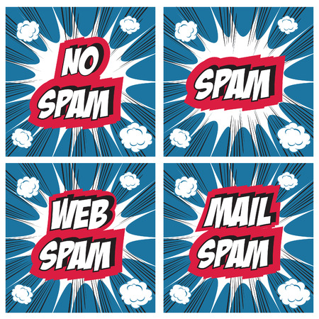 unwanted: No Spam, spam, web spam,email spam - Spam concept backgrounds Pop art comic style set Stock Photo