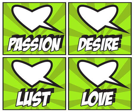 lust: Valentines Day backgrounds set passion, desire, lust, love Stock Photo
