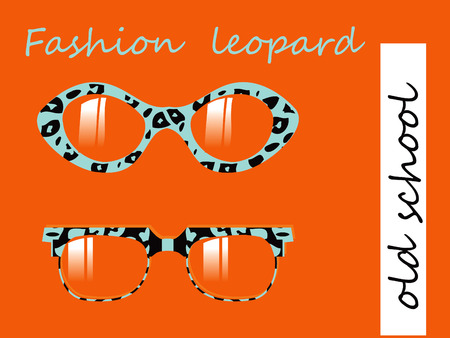 johnny: Fashion collection of oldschool glasses with leopard texture pattern Stock Photo