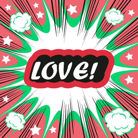 love dynamite: Retro background Design Template boom with word LOVE Comic book background