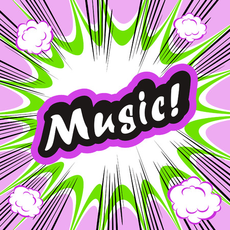 conceptual cute: Comic book background Music! concept or conceptual cute Music text on pop art background for your designs or presentations