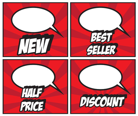labeling: NEW BEST SELLER HALF PRICE DISCOUNS lables -illustration of colorful cartoon labeling