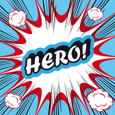 cartoon superhero: Pop Art explosion Background Hero! Stock Photo